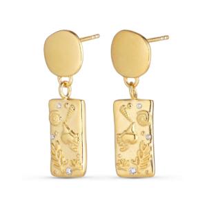 Balka øreringe, inspireret af smukke Bornholm.18 karat guldbelagt sterling sølv 925