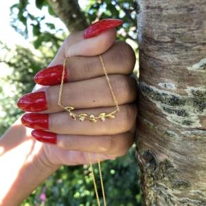 Bedst solgte Halskæde!OLIVIA halskæde i sterling sølv 925 og 18 karat forgyldt med 3 zirconia